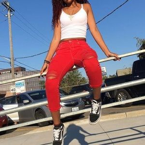 Red Skinny Ripped Jeans
